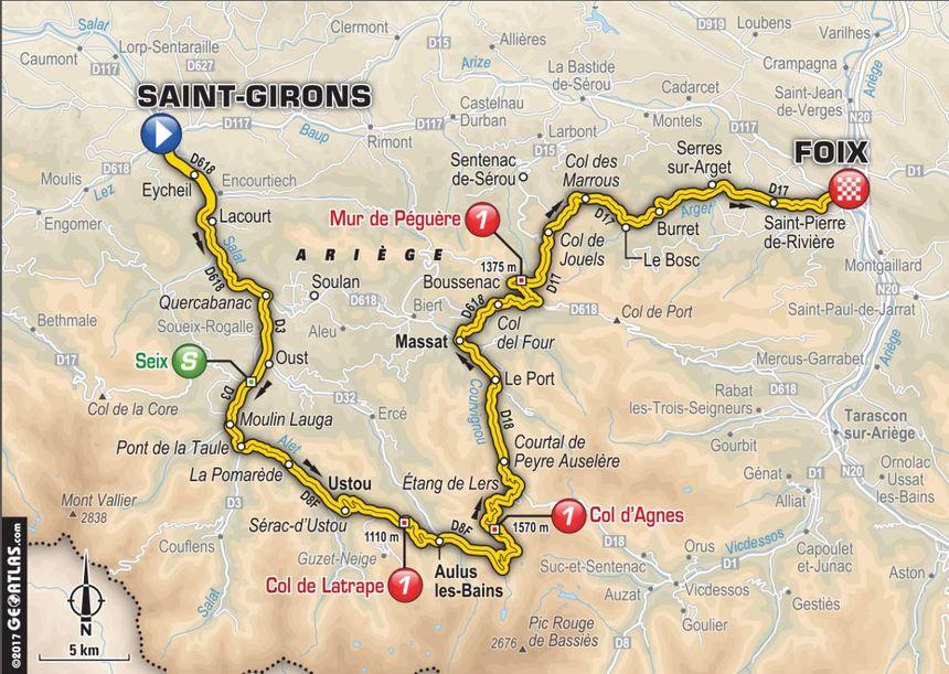 Le tracé de la 13e étape du Tour de France 2017