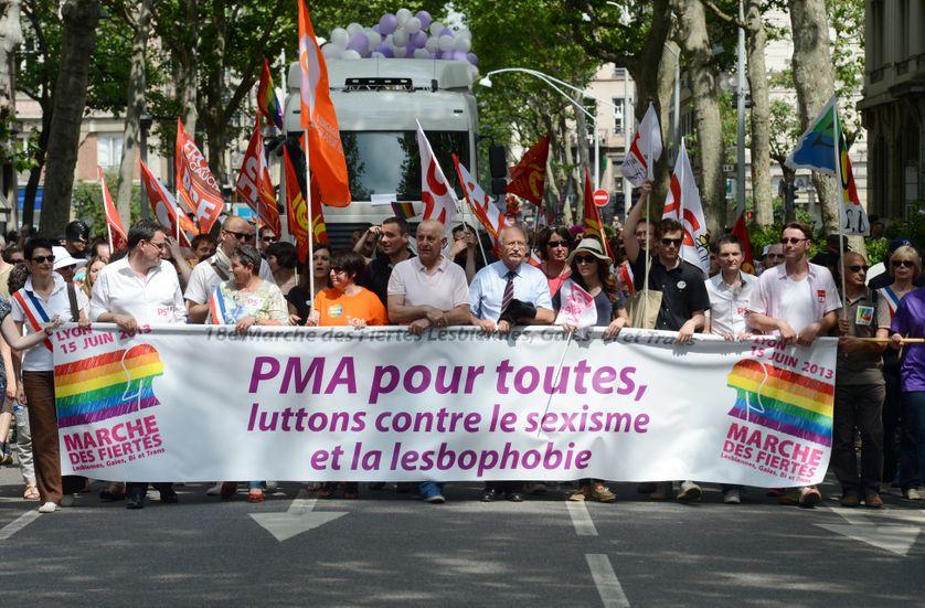 Manifestants pro PMA pendant la Marche des fiertés à Lyon