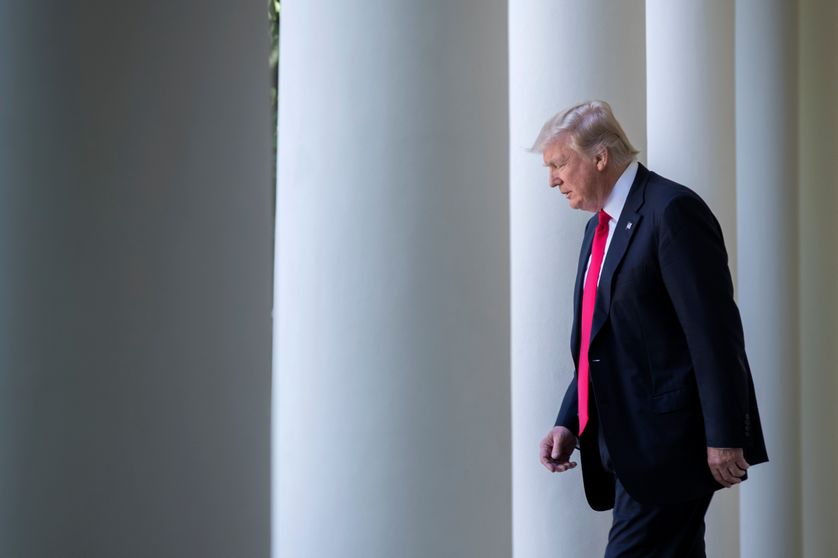 US President Donald J. Trump walks from the Oval Office to announces that the US is withdrawing from the Paris climate accord during a Rose Garden event at the White House in Washington, DC, USA, 01 June 2017