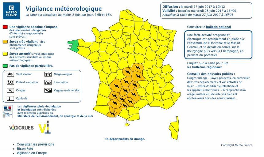 14 départements toujours en vigilance orange pour risque d'orages.