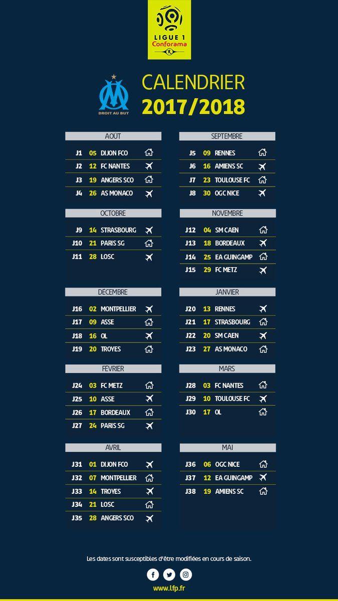 Ligue 1 : le calendrier de l'Olympique de Marseille pour la saison , journée par journée