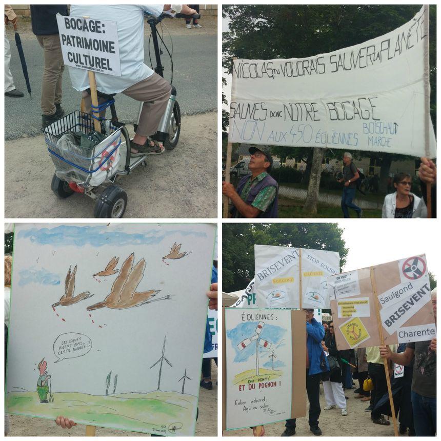 Les nombreuses pancartes des manifestants anti-éoliens à Argenton-sur-Creuse.