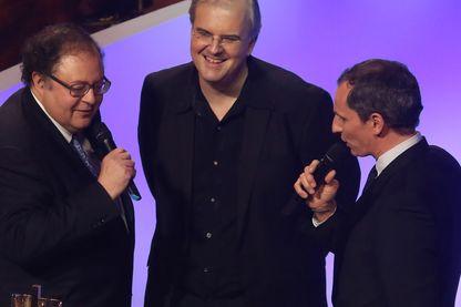 Nicholas Angelich à la réception de sa Victoire de la musique en 2013 avec Frédéric Lodéon