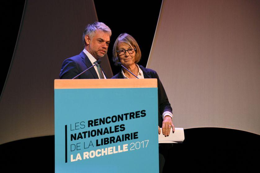 La ministre de la Culture, Françoise Nyssen aux cotés de Matthieu de Montchalin, président du SLF