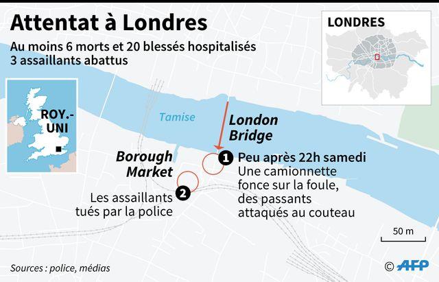 Les lieux de l'attentat de Londres