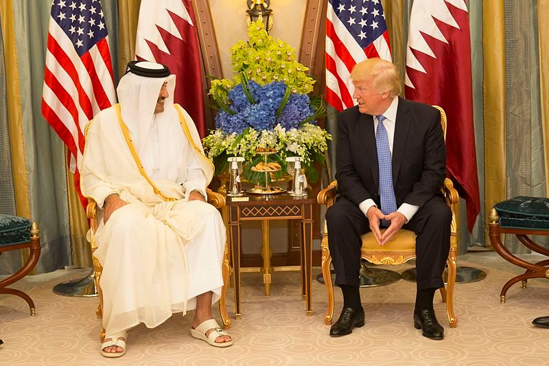 President Donald Trump meets with the Emir of Qatar during their bilateral meeting, Sunday, May 21, 2017, at the Ritz-Carlton Hotel in Riyadh, Saudi Arabia. (Official White House Photo by Shealah Craighead)