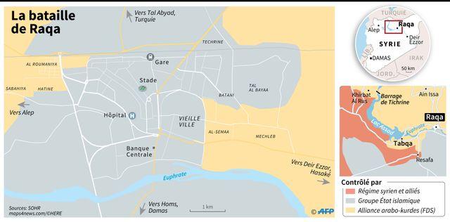 Le contrôle des territoires à Raqqa
