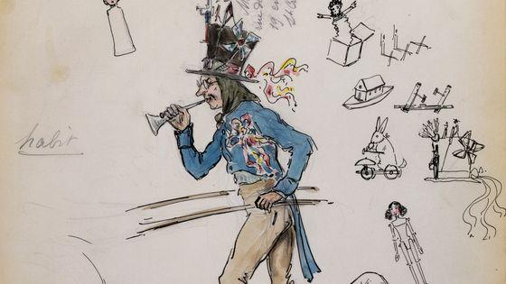 Costume pour Parpignol / La Boheme de Giacomo Puccini, par Marcel Multzer (1866-1937), 1898, Opera Comique