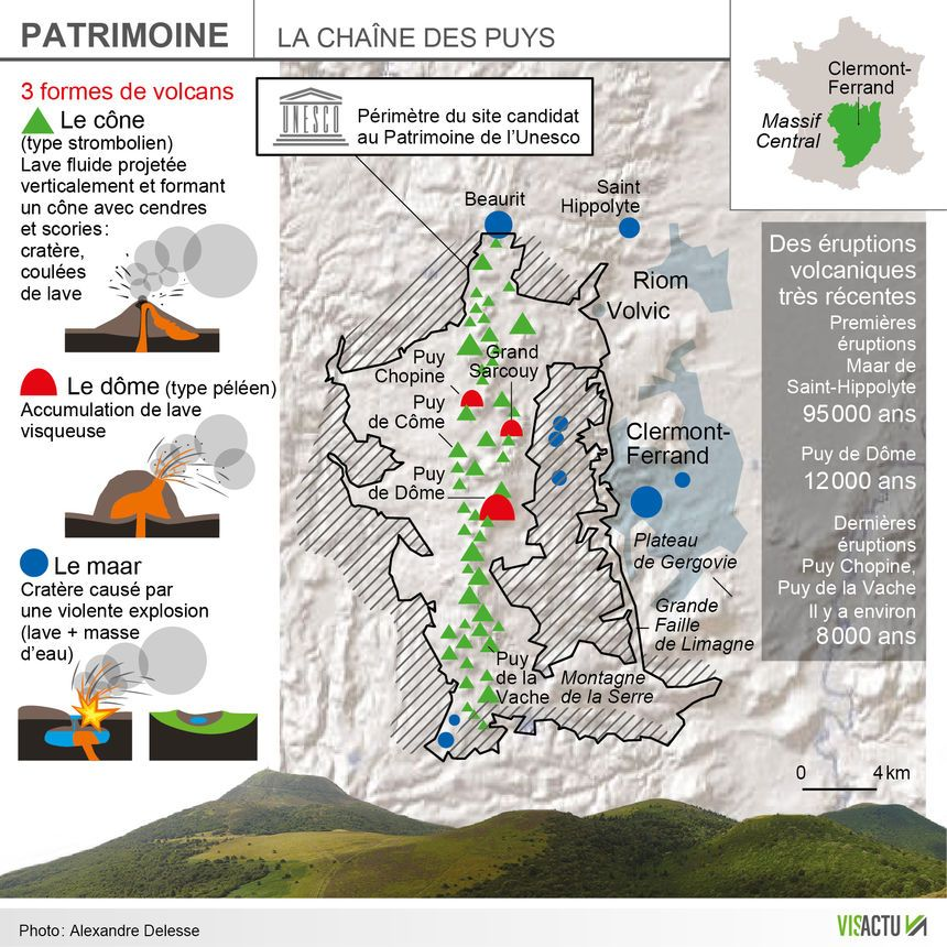 La nouvelle candidature de la Chaîne des Puys - faille de Limagne examinée en juillet 2018