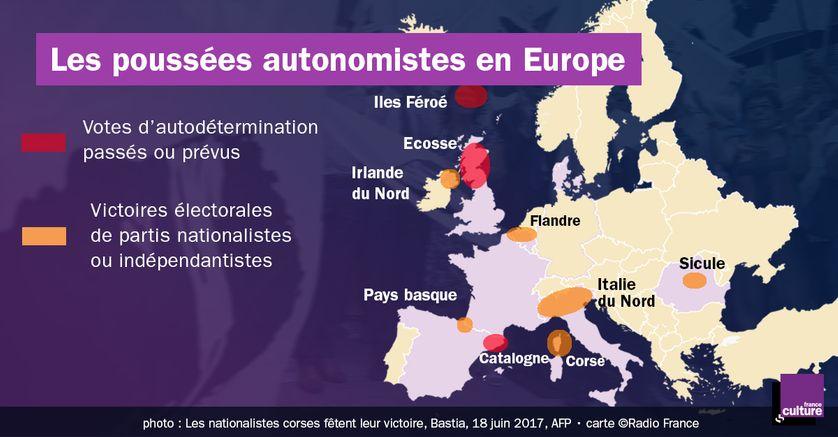 La carte des mouvements autonomistes en Europe