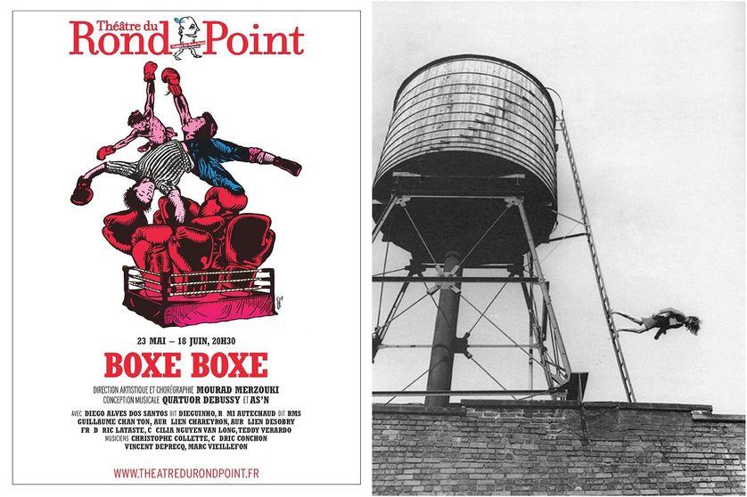 """Affiche du spectacle """"Boxe boxe"""" au théâtre du Rond Point et visuel exposition """"A different way to move"""""""