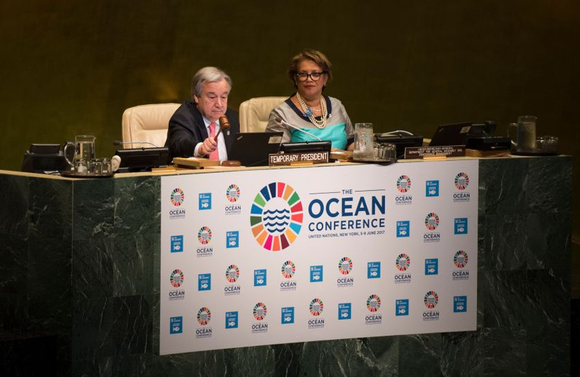 United Nations Secretary General António Guterres opens the Ocean Conference June 5, 2017 at the United Nations in New York.