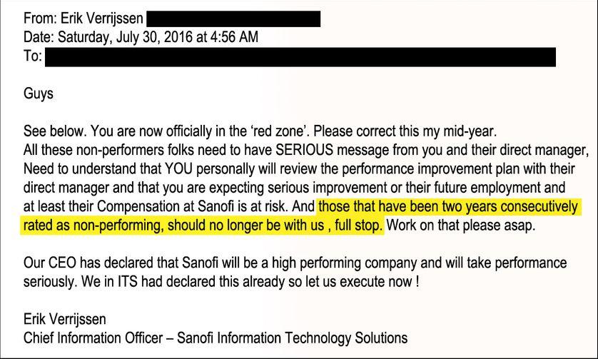 Mail du 30 juin 2016 Les salariés notés non performants 2 ans de suite ne doivent pas rester dans l'entreprise