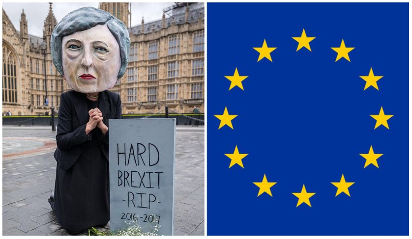 RIP Hard Brexit, 9 juin 2017 : Campaigners from global citizens´ movement Avaaz demonstrate after UK general elections, Theresa May big-head puppet mourns at the grave of hard Brexit after hung parliament shock / drapeau européen