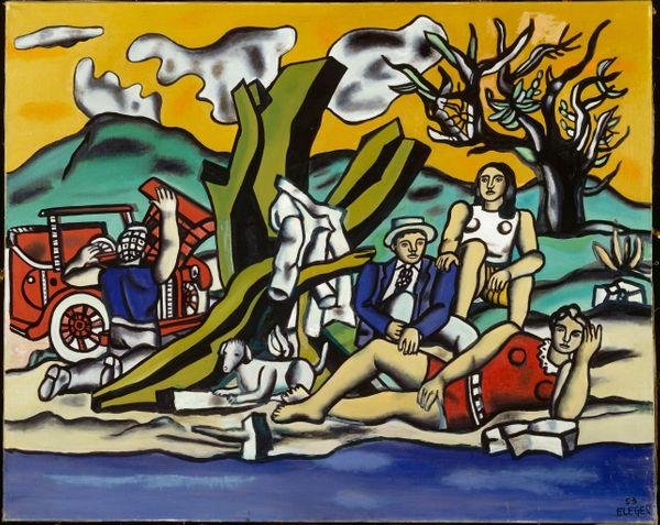 Fernand Léger, La Partie de campagne (Deuxième état), 1953, Huile sur toile, 130,5 x 162 cm Achat grâce au Fonds du Patrimoine et avec la participation des éditions Adrien Maeght, 1986 numéro d'inventaire AM 1986-66 Collection Centre Pompidou, Paris,