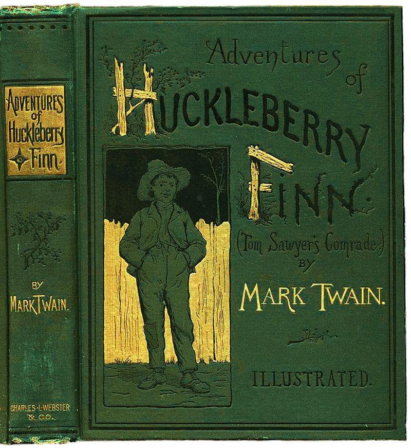 """La couverture du livre """"Les aventures de Huckleberry Finn"""" à sa sortie en 1884"""