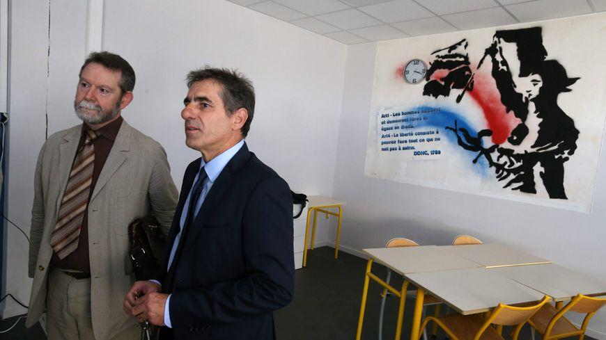 Jean-François Chanet, recteur des académies Besançon / Dijon, à gauche... au côté de Jean-Jacques Fito, principal du collège Vauban de Belfort lors de la rentrée 2016