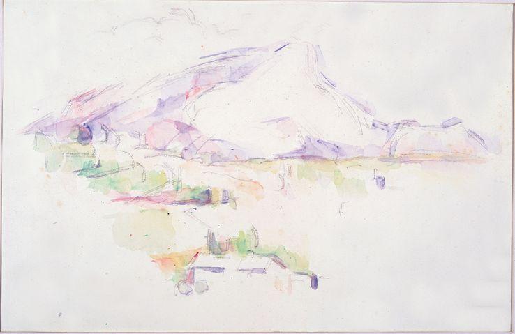 Paul Cézanne, La Montagne Sainte-Victoire vue des Lauves, 1901-1906 Mine de plomb et aquarelle sur papier vélin, 29,8 x 46,2 cm•