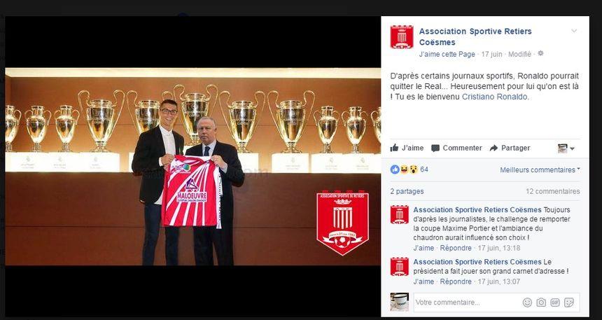 Capture d'écran de la page Facebook de l'AS Retiers