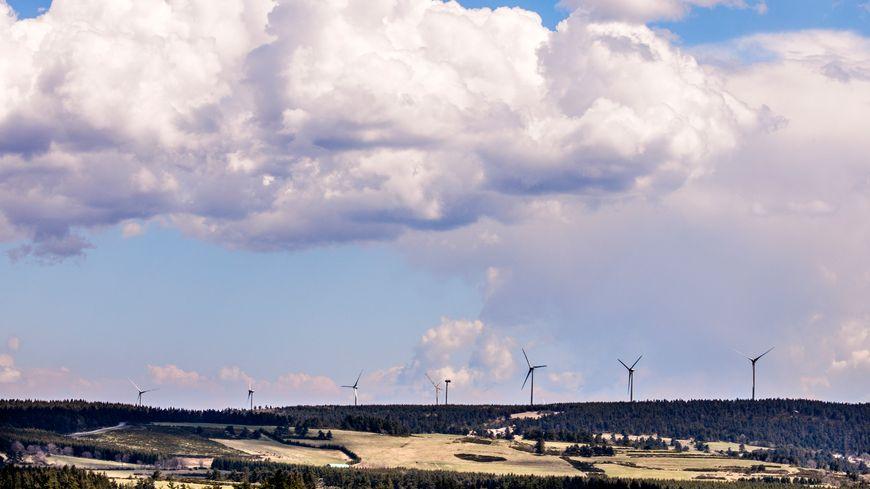 Une partie du parc éolien de Lespéron, Ardèche