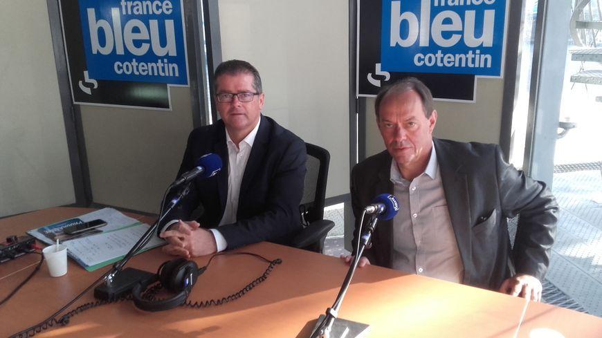 Bertrand Sorre (à gauche), nouveau député REM de la circonscription d'Avranches-Granville a éliminé le sortant LR Guénhaël Huet.