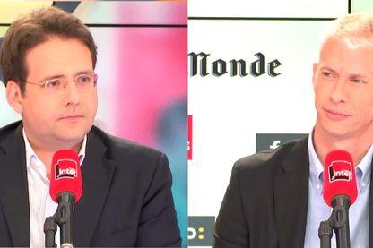 Matthias Fekl (à gauche) et Franck Riester (à droite) sur le plateau de Questions politiques