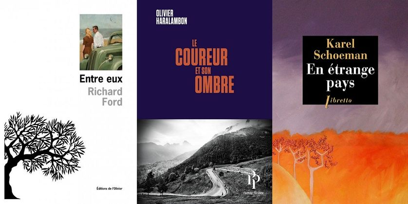 """Couvertures des livres """"Entre eux"""" (L'Olivier), """"Le coureur et son ombre"""" (Premier Parallèle) et """"En étrange pays"""" (Libretto)"""