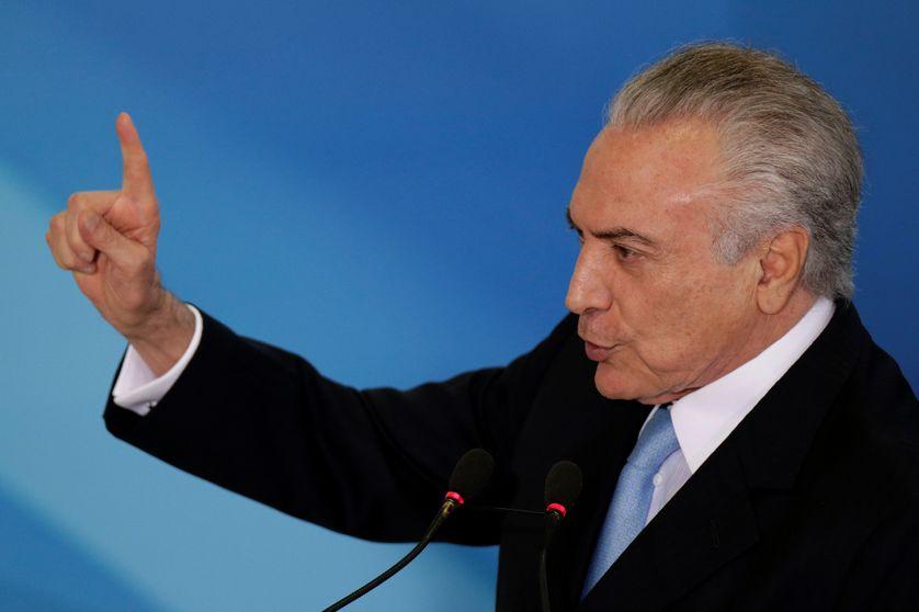 Le président du Brésil Michel Temer lors de la cérémonie d'inauguration du nouveau ministre de la justice Torquato Jardim, à Brasilia, Brésil, le 31 mai 2017.