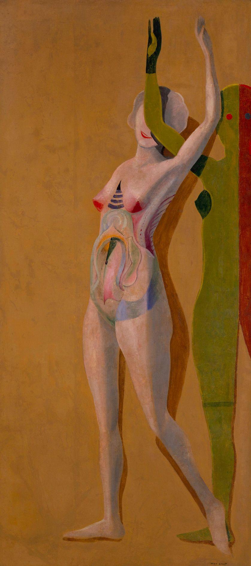 Max Ernst  [Il ne faut pas voir la réalité telle que je suis],1923  Huile sur plâtre, déposée sur toile  175 x 80 cm  Dation, 1982