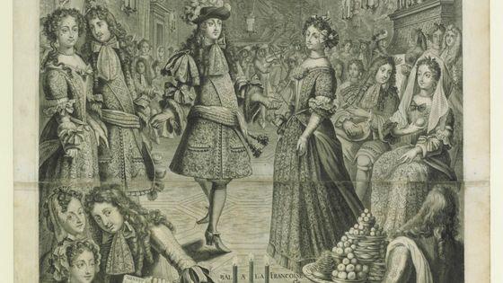 Bal à la française de Marc-Antoine Charpentier. Estampe (détail). Éditeur : P. Landry à Paris