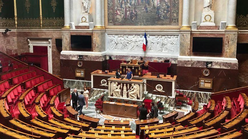 Véronique Riotton (députée LREM de la 1e circonscription) au pupitre de l'Assemblée nationale ce vendredi.