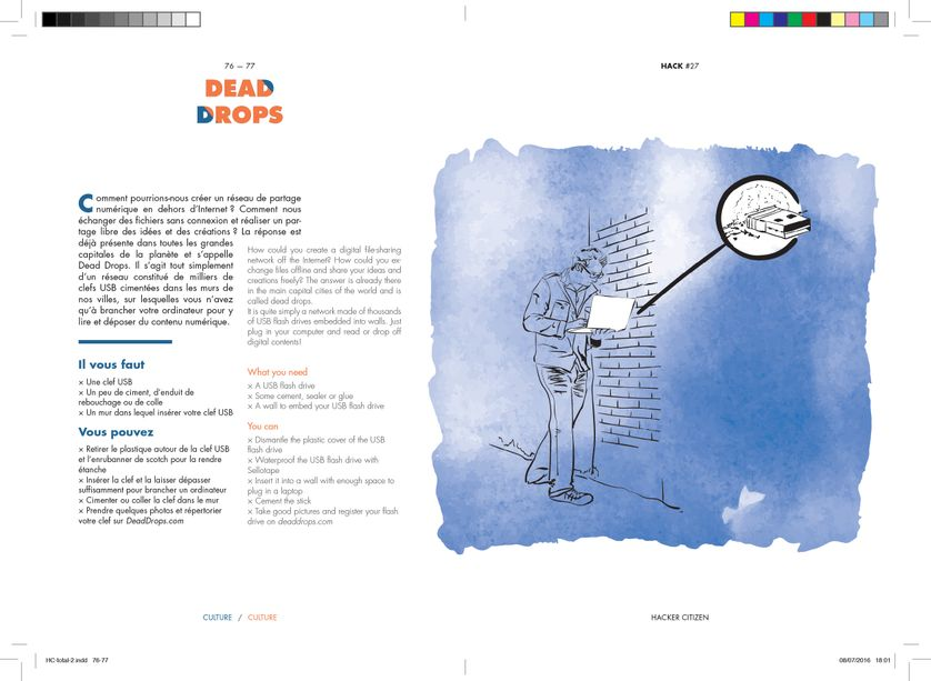"Dead Drops, illustration issue de ""Hacker Citizen"" de Geoffrey Dorne"
