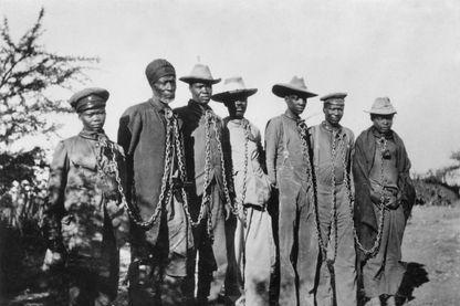 Prisonniers Herero en Namibie lors de la rébellion de 1904 contre l'occupant allemand