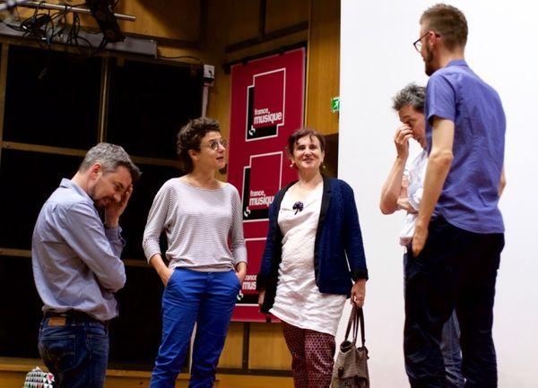 Etienne Pipard, Irène Béraldo, Anne Montaron, Pierre Roullier et Andrzej Kwiecinski en studio