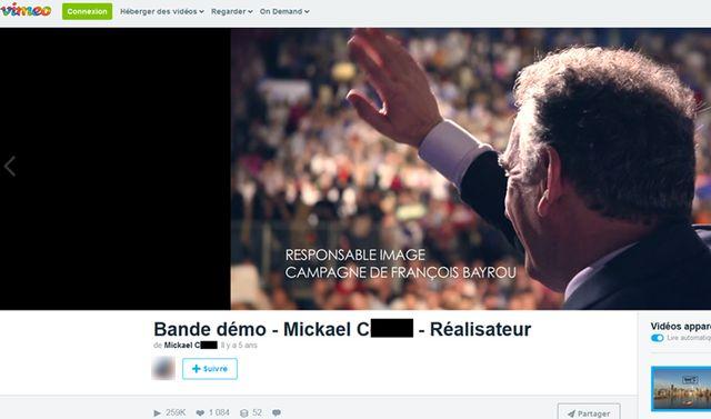 Capture d'écran de la page viméo de Mickaël C. 08 juin 2017