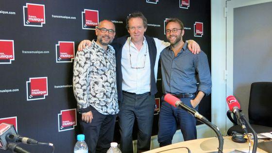 France Musique, studio 141... Arnaud Marzorati, Benoît Duteurtre & Pierre Cussac (de g. à d.)