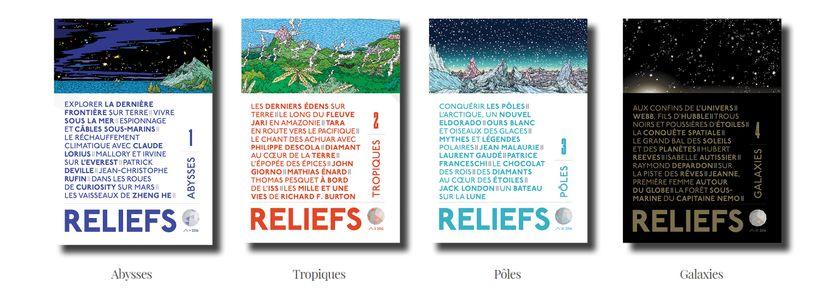 """Les quatre numéros de la collection """"Dernières frontières"""" de la revue Reliefs"""