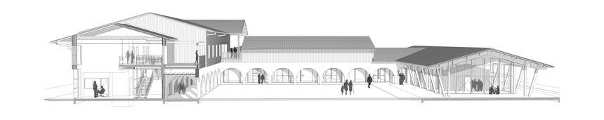 Coupe verticale de la Bastide à l'entrée du village