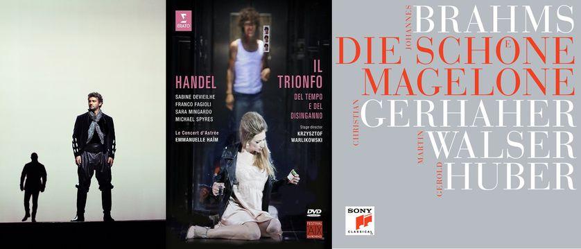 """photo de """"Otello"""" au Royal Opera House, couverture du DVD Erato de """"Il trionfo..."""" et couverture d'album """"Die schöne Magelone"""" SONY"""