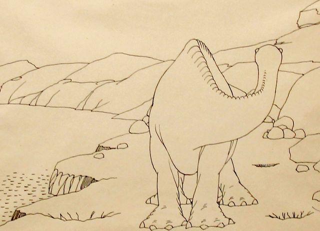 Image de Gertie le dinosaure dans l'exposition Winsor MCcay de la biennale du 9e art au Musée Thomas Henry de Cherbourg-en-Cotentin