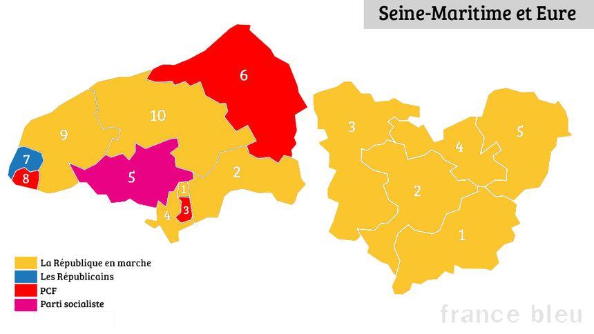 Le Parti socialiste et Les Républicains ne conservent qu'une circonscription chacun en Seine-Maritime et dans l'Eure à l'issue des élections législatives.