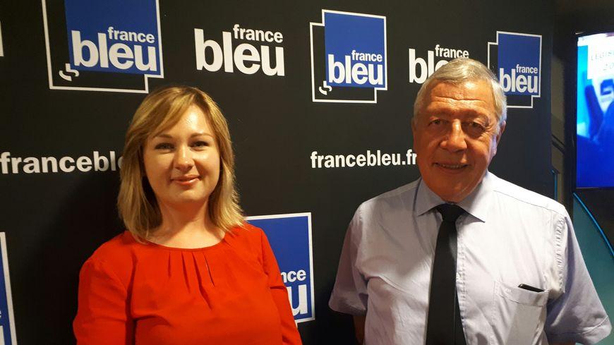 Valéria Faure-Muntian et François Rochebloine dans les studios de France Bleu Saint-Étienne Loire.