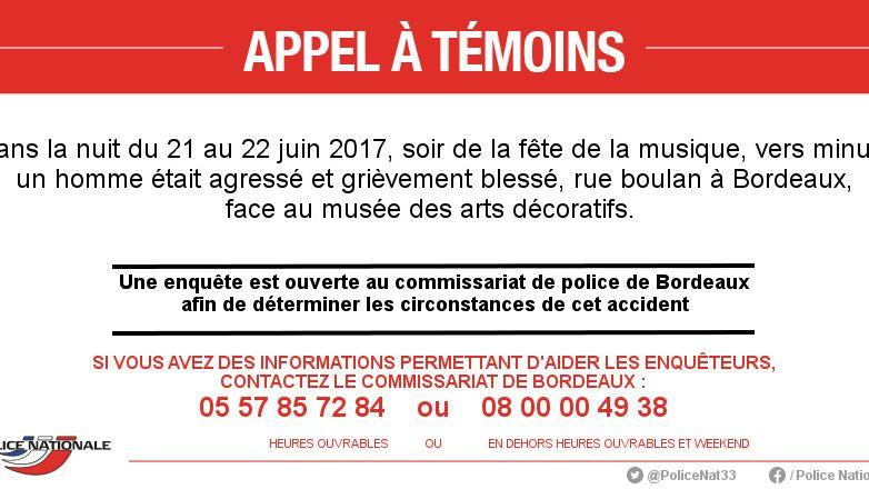 La police de Bordeaux lance un appel à témoins après la violente agression d'un homme, rue Boulan, le 22 juin 2017.