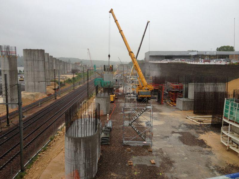 Le chantier de la LGV à Poitiers en juin 2013