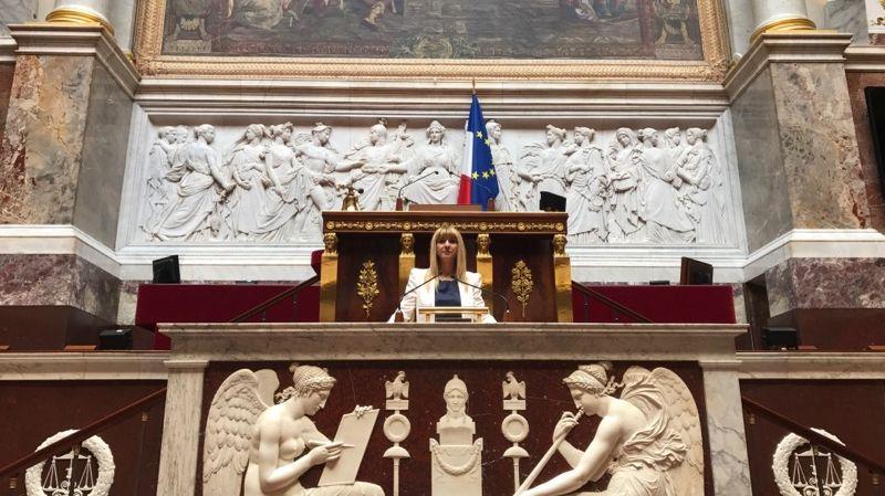 Patricia Mirallès sous le perchoir de l'Assemblée nationale