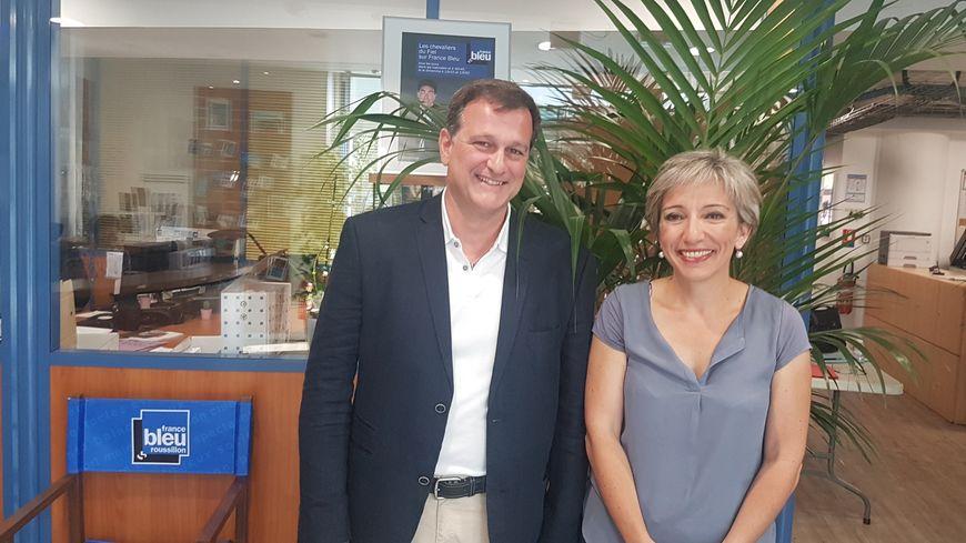 Louis Aliot et Christine Espert, aprés le débat à l'entrée de France Bleu Roussillon