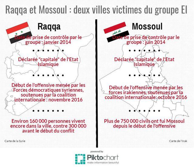 Raqqa et Mossoul : deux villes victimes du groupe EI
