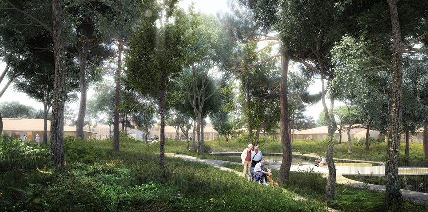 Au centre du village : un plan d'eau entouré d'arbres et des chemins piétonniers