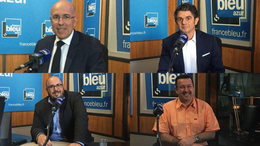 De gauche à droite, de haut en bas : Eric Ciotti (LR), Marc Concas (LREM), Philippe Vardon (FN) et Philippe Carenzo (FI).