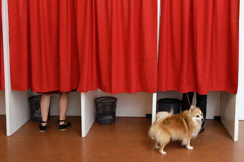 Photo prise dans un bureau de vote à Castelsarrasin, dans le sud de la France, au cours du premier tour des élections législatives du 11 juin 2017.